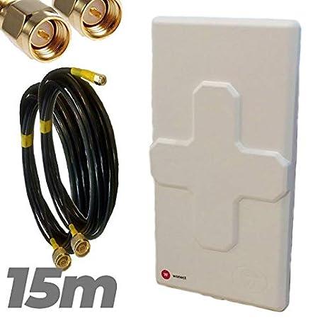Antena 4G Wonect 50dBi Blanca exterior con conectores N y ...