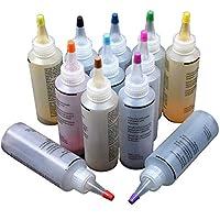 Tinte no tóxico para atar, 12 botellas fáciles de apretar para ropa de bricolaje, tela de graffiti, pinturas textiles en un solo paso para amigos y familia, suministros de fiesta de verano