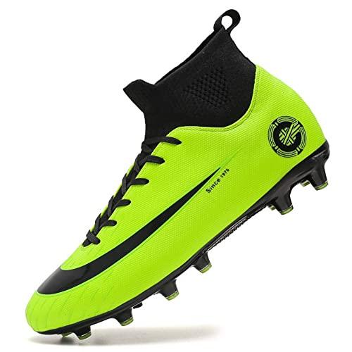 Botas De Fútbol para Hombres High Top Spikes Class Sock TF Nails Rotos AG Long Nails Capacitación para Niños Zapatillas De Deporte Profesional Zapatos De Fútbol, Green 1-44EU