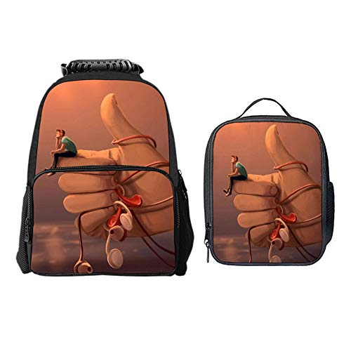 SARA NELL Boys Girls Students Boy Love Music You Are The Best Polyester School Backpack and Lunch Bag 2 Sets