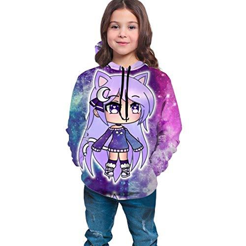 Lässige Hoody Tops Spiele Gacha Life Unisex Hoodie 3D-gedrucktes Kapuzenpullover-Sweatshirt für Männer Frauen Jungen Jungen Mädchen 6-16 Jahre alt