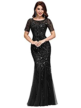 Women s Sequin Mermaid Dresses Evening Dress Long Party Prom Gown Black US8