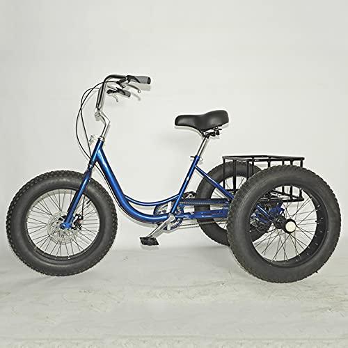 Outdoor sports Ältere Erwachsene 3-Rad-Fahrräder, Klassisches Retro-Fahrrad mit Doppelbremse 4.0 Dreirad mit Variabler Geschwindigkeit, Strandkreuzer Fahrrad mit Korb, Verstellbarer Lenker und Sitze