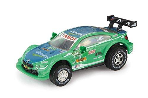 Darda 50385 Auto BMW M4 DTM Farfus, Rennauto mit auswechselbaren Rückzugsmotor, Fahrzeug mit Aufziehmotor, Rückziehauto für Rennbahnen, Rennwagen für Kinder ab 5 Jahre, ca. 8 cm, grün