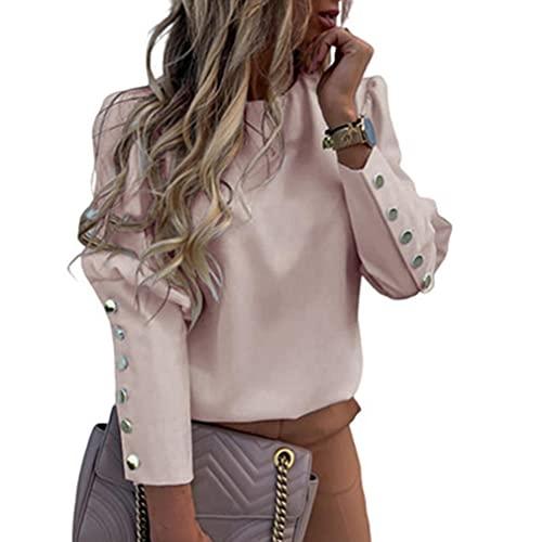 Top de mujer de manga larga, botones de metal, cuello redondo, suéter sin capucha, estampado de letras y blusa de mujer elegante, Rosa, S