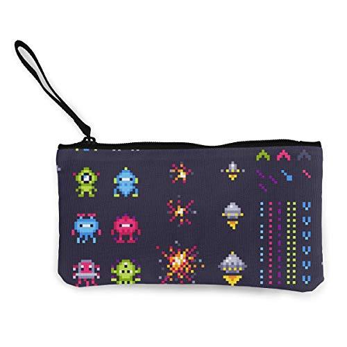 BHGYT Retro Space Arcade Game Invaders Navicella spaziale Pixel Donne 's e ragazze' Personalità Moda Retrò Mini Mini Zip quadrata Portafoglio portamonete Regali Borsa portamonete Borsa per carte Bor