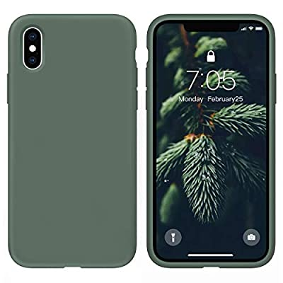 OUXUL Case for iPhone X/iPhone Xs case Liquid Silicone Gel Rubber Phone Case,iPhone X/iPhone Xs 5.8 Inch Full Body Slim Soft Microfiber Lining Protective Case?Forest Green?