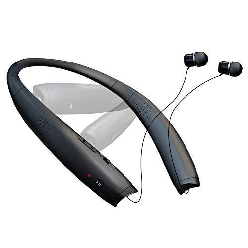 SGart Bluetooth Headphones, Foldable Wireless Neckband Headphones, V5.0 Wearable Speaker Earphones, 2 in 1 True Stereo Sound Retractable Headset & Auto Answer on Earbud