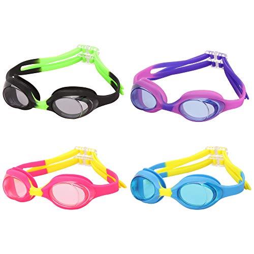 Romoc 4 Pack Kids Swimming Goggles,No Leaking,Anti Fog,UV Protection Swim Glasses Water Goggles