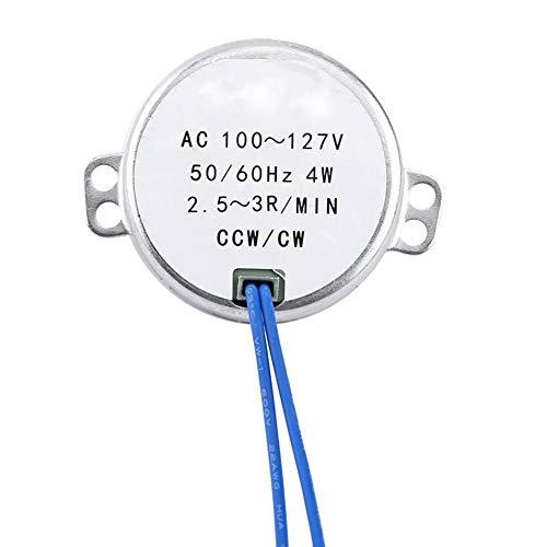 Sincronizador sincrónico de la placa giratoria Motor, Plato giratorio Motor sincrónico 50/60Hz AC 100-127V CCW/CW 4W Dirección para motor hecho a mano, proyecto escolar, modelo o guía(2.5-3RPM)