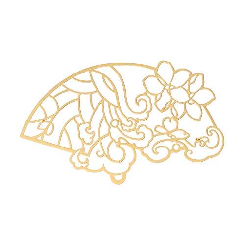 Boji Colgante de bisel antiguo abanico de cobre en blanco, colgante con bisel abierto, relleno de resina UV, joyas para manualidades, joyas prensadas