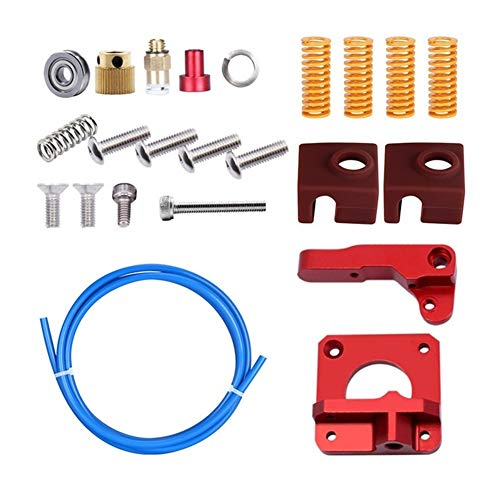 MZHE Cr10/Ender 3 Extruder For 3D Printer Accessories Cr10/Ender 3 Upgraded Version Extruder + Petg Tube + Spring + New Silicone Slee Suitable for most printers, making your printer q (Color : Red)