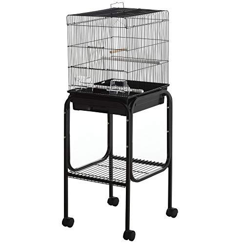 PawHut 44.5' H Metal Bird Cage Parrot Play Spot Stand w/Wheel Storage Shelf Multi-Doors Black