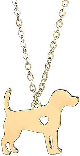 LBBYLFFF Collar Mujer Oro Beagle Collar Perro Colgante Collar Joyas para Perros Medias rellenas Joyas para Mascotas Regalo conmemorativo para Mascotas Familia Amante de los Perros