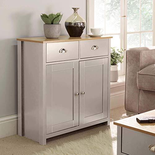 Home Source Grey Oak Sideboard 2 Door 2 Drawer Storage Cupboard, Metal Handles