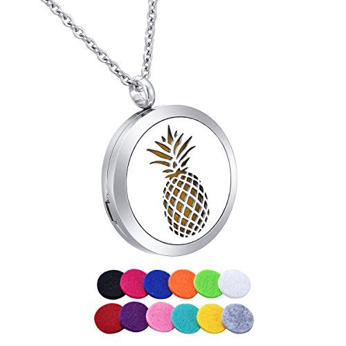 HooAMI Aromatherapy Essential Oil Diffuser Necklace - Stainless Steel Pineapple Pendant Locket Jewelry,12 Refill Pads
