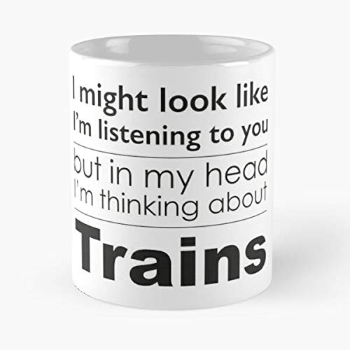 Thinking Listening Trains Diesel Scotsman Coaches Steam Flying Locomotive Eat Food Bite John Best 11 Ounce Ceramic Coffee Mug