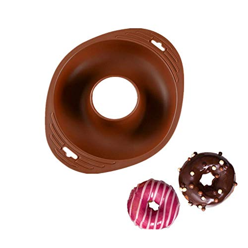 Brown Ring Mold Cake Pans and Handles,8 1/2 inch Diam,Round Silicone Donut Mould Non-Stick,Bagel Cake Chocolate Mousse Mould,DIY Decorative Baking Tray,Baking Tools Cake Decorating Plate