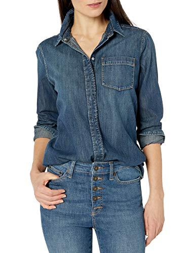 Marca Amazon - Goodthreads Denim Boyfriend Shirt novelty-t-shirts, Desteñido oscuro, US S (EU S - M)