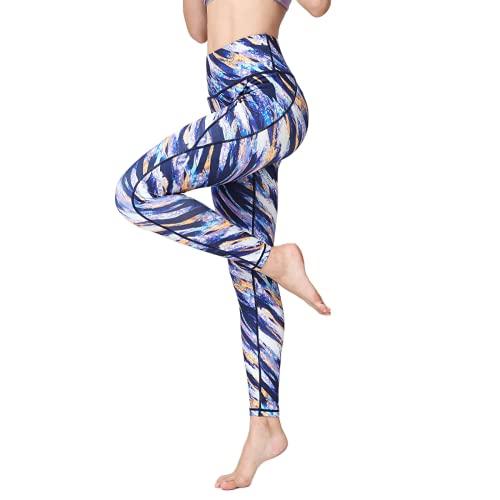 QTJY Color Flores Fitness Pantalones de Yoga Damas Moda Estiramiento Deportes Pantalones de Yoga al Aire Libre Correr Fitness Pantalones de Yoga E XL
