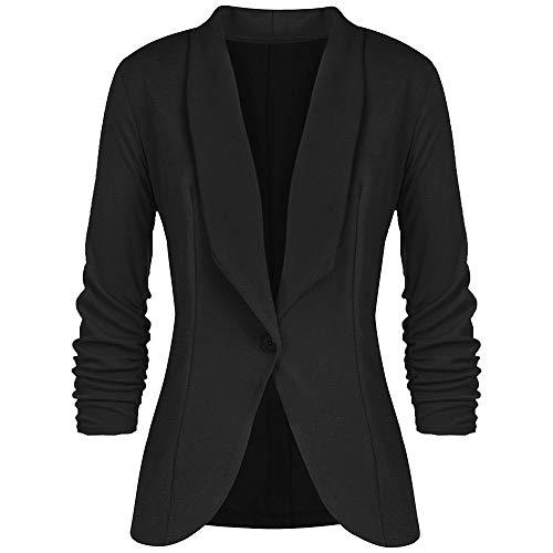 ZODOF Chaqueta Casual de Moda para Mujer Abrigo Elegante del Traje Delgado de Las Mujeres del Estilo de OL de Tres Cuartos de la Chaqueta de la Manga del Estilo de OL