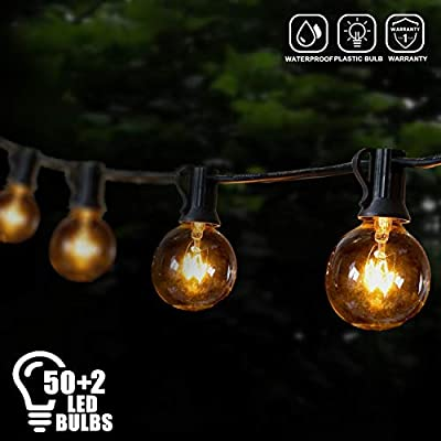 Brillihood 50Ft LED Patio String Light G40 Globe String Light- Shatterproof, Warm White, Indoor Outdoor Hanging Decorative String Light for Garden Wedding Party Bistro Home Decor (50+2 Bulbs)