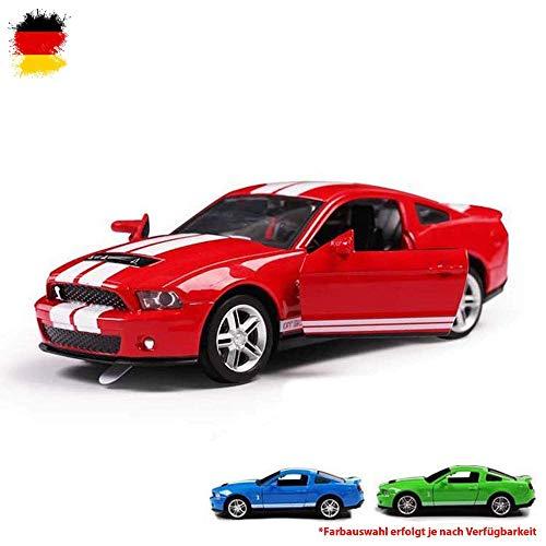 HSP Himoto Ford Mustang GT500 - Mini 1/32 Maßstab Diecast Modellauto mit Pull-Back Rückziehmotor, Licht und Sound, Karosserie aus Metall, original Lizenzauto Sammler Auto Car Fahrzeug