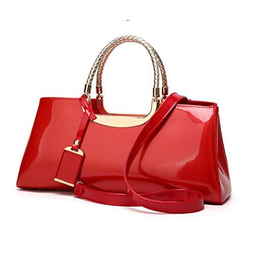 AINUOEY Damen Handtaschen Frauen Schultertaschen Umhängetaschen PU-Leder Bowlingtaschen Rosa Rot