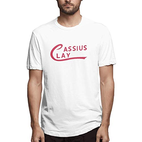 Men's Short Sleeve Round Neck T-Shirt, Ali Cassius Clay Logo Casual Shirt White XXL