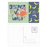 世界のカニの海洋生物を発見 バナナのポストカードセットサンクスカード郵送側20個