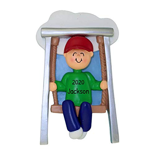 Personalized Swing Christmas Tree Ornament 2019 - Happy Toddler Baby Boy Metal Hanging Seat Playground Child Best Kid Grand-Son 1st Lover First Milestone - Free Customization (Male)