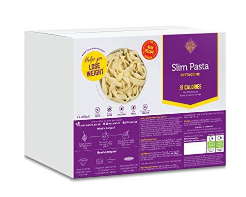Eat Water Pasta delgada Fettuccine sin drenaje Enviro bajo en carbohidratos 5 paquetes * 200 gramos | Hecho de harina de Konjac sin gluten | Keto Paleo Diet