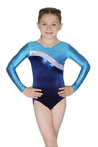 Roch Valley Atlanta - Maillot de gimnasia de 7 a 8 años, color plateado y azul marino