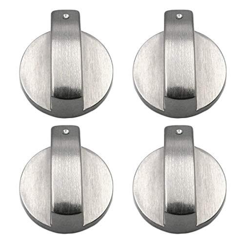 xutong Perillas de control para estufa de gas, 4 piezas de metal de 6 mm de plata, adaptadores para interruptor de horno de cocina, control de superficie cerraduras