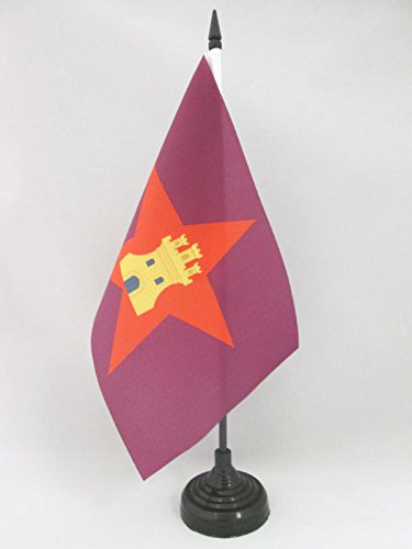 AZ FLAG Bandera de Mesa de Castilla COMUNERA INDEPENDENTISTA 21x14cm - BANDERINA de DESPACHO CASTELLANA NACIONALISTA 14 x 21 cm