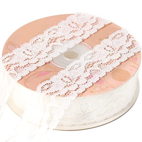 KAIDILA Ivory Lace Ribbon 1 inch, Lace Elastic Ribbon Trim 25 Yard, Vintage Lace Ribbons for Wedding, Crafts, Bouquet, Sewing