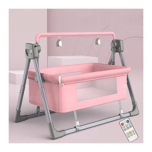 Babysäng Med Madrass Sängbädd För Baby, Enkel Vikbar Bärbar Spjälsäng Med Förvaringskorg För Nyfödd, Sängsäng Med Bluetooth-fjärrkontroll (Color : Pink)