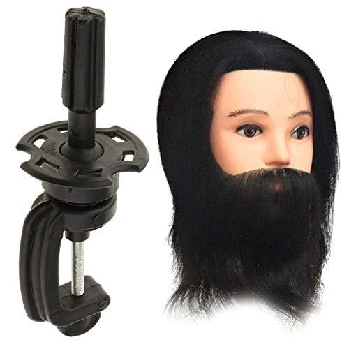Homyl Tête d'apprentissage Tête à Coiffer Tête d'exercice Mannequin Head 100% Vrais Cheveux avec Titulaire