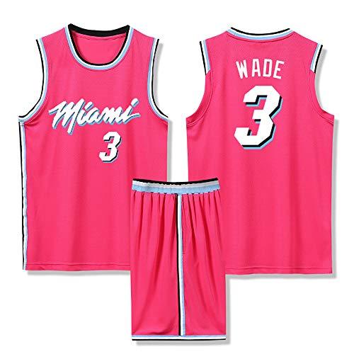 Ordioy Jerseys para Hombre, Dwyane Wade # 3 Miami Heat Basketball Jersey, Retro Unisex Camisetas De Baloncesto Bordadas Chaleco Sin Mangas Top Deportivo + Conjunto De Pantalones Cortos,Rosado,2XL