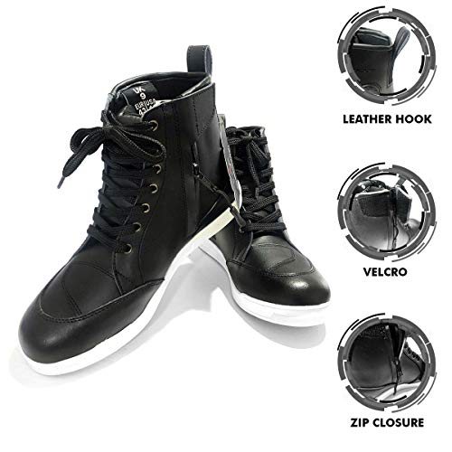 VASTER Motorradfahrer Stiefel Motorrad Leder CE Rüstungsstiefel Motorrad Männer wasserdichte Schuhe Sneaker Mode für Männer Jungen Schwarze Farbe (42 EU)