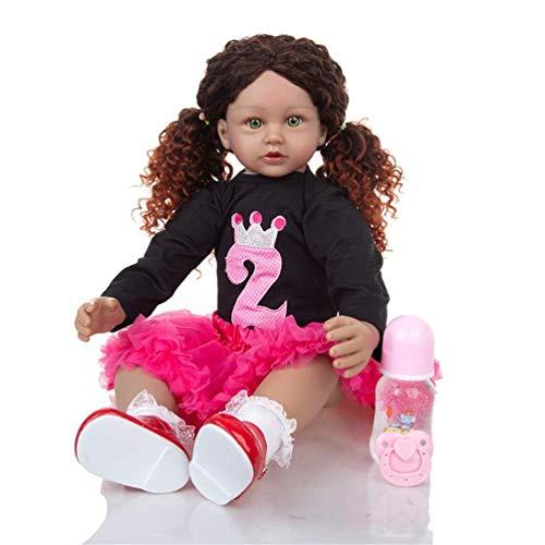 24 Pulgadas 60 cm Realista Reborn Princess Baby Dolls con Pelo Largo Vinilo Realista Silicona Muñecas Suaves para niñas pequeñas Muñecas Hechas a Mano Bebés para Mayores de 3 años Regalo de cumpleaño