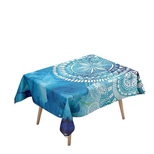 Morbuy Manteles Mesa Rectangular Antimanchas - Mandala Estilo 3D Estampado Manteles Cuadrada Impermeable Lavable Mantel para Decoración Cocina Salón Jardín Comedor (Estilo Mandala,140x260cm)