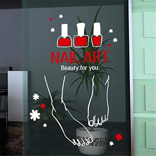 zzlfn3lv Nail Art Vinly Wall Sticker Pied Vernis À Ongles Peintures Murales Sticker Nail Bar Signe Affiche Nail Art Verre Fenêtre Porte Décoration 57 * 128 cm