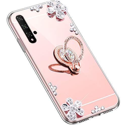 Uposao Kompatibel mit Huawei Honor 20 Hülle Glitzer Diamant Glänzend Strass Spiegel Mirror Handyhülle mit Handy Ring Ständer Schutzhülle Transparent TPU Silikon Hülle Tasche,Rose Gold