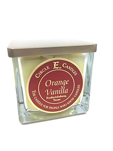 Circle E Orange Vanilla Scented Jar Candle   Size 22oz   110 Hour Burn Time   2 Wicks   Wax Color Butter   Glass Jar   Made in USA