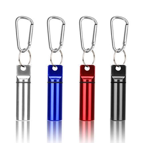 """OOTSR 4 Stück Pillendose Schlüsselanhänger(2.4""""x0.6"""") mit Karabiner Verriegeln, Aluminium Pillenbox wasserdichte Pillen Kapsel Aufbewahrungsbehälter für Draußen Camping"""
