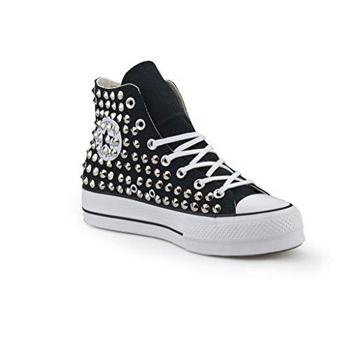 Scarpe Platform Personalizzate Borchiate Nera Sneakers (Artigianali) con Borchie Cono Argento