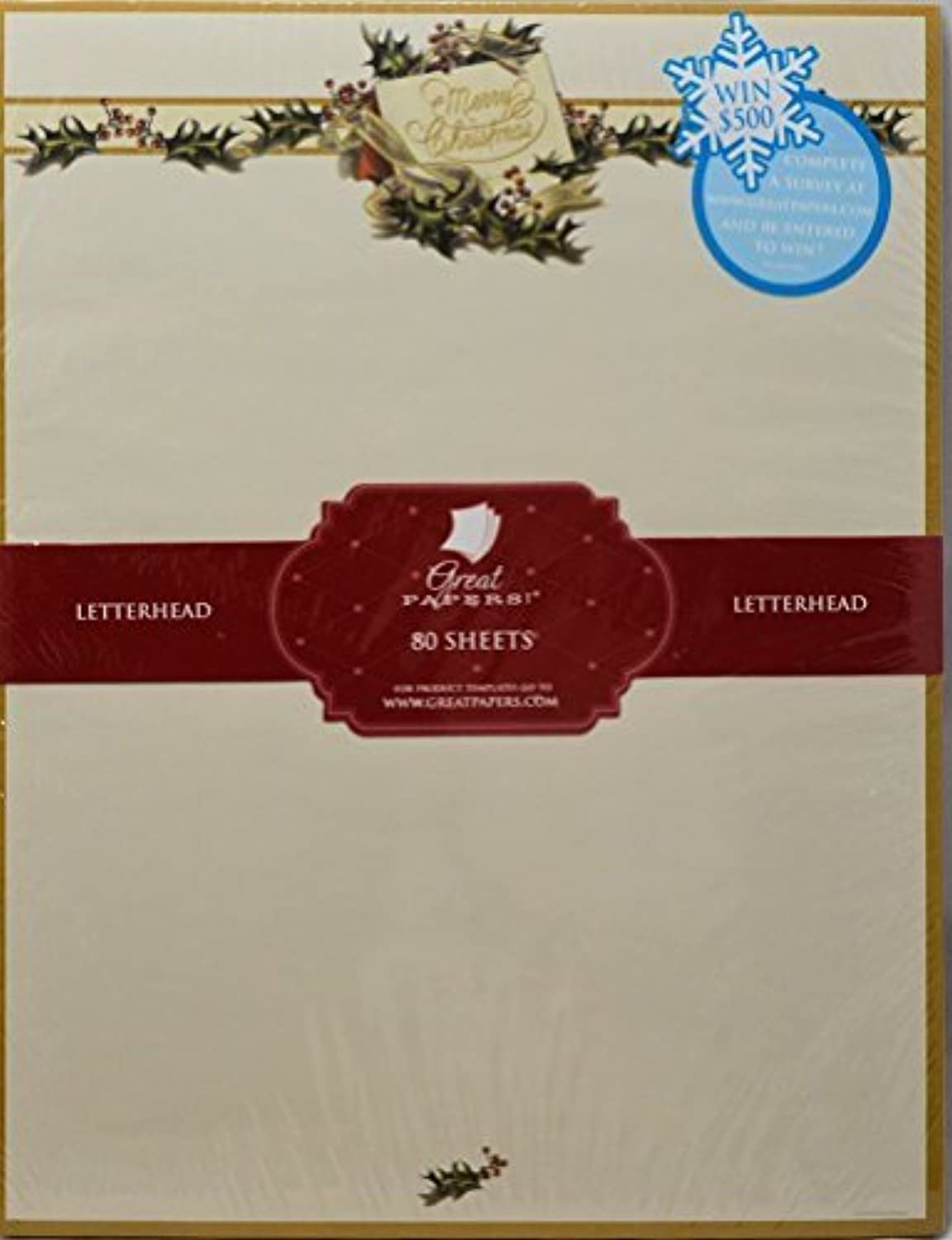 Vintage Christmas Holly Stationery - 80 Sheets by Great Great Great Papers  B018REEQ4G | 2019  44fd6c