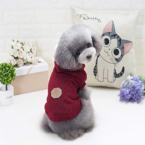 PetSupplies hondenpullover voor huisdieren, duurzaam, met capuchon, pullover met knoopsluiting, maat XL, Wijn Rood