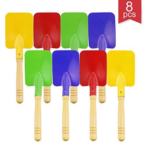 Faxco 8 Pieces 8#039#039 Toy ShovelsMini Shovel Kids Garden ToolsWooden Handle Beach Shovels Garden Shovels